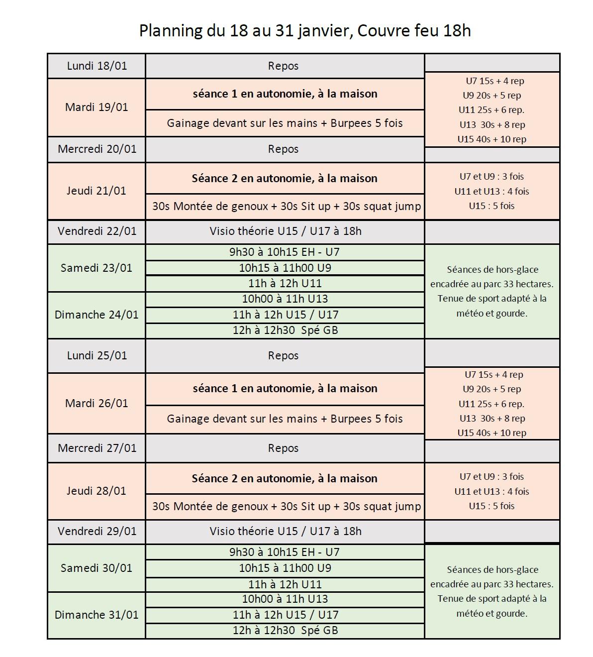 planning entrainements du 18 au 31 janvier 2021